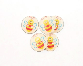 "5 Bee Buttons. Pink, Yellow and Blue  Handmade Buttons for sewing. 3/4"" or 20 mm."