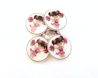 """Cheerleader Sewing Buttons.  5  Handmade Buttons for sewing or knitting. 3/4"""" or 20 mm."""