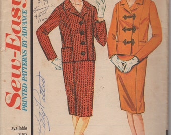 Advance 3293 1960s Misses Princess Seam Jacket and Slim Skirt Pattern Sew Easy Womens Vintage Sewing Pattern Size 12 Bust 32