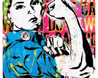 """18 x 24"""" High Quality Art Print Poster - Rosie the Riveter girl power  strong women United States cultural icon"""