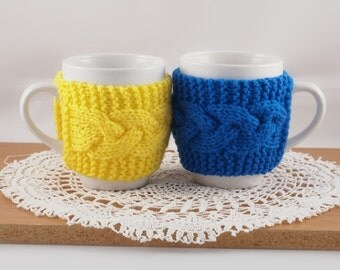 Set of 2 Hand Knit Coffee Mug Cozy Your Choice Of Colors Save 3.00 with this Pack of 2