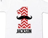 Mustache first birthday boy shirt - mustache chevron number one (or any age) birthday personalized t-shirt