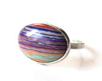 Rainbow Calcilica Statement Ring - Sterling Silver Swirl Stone Ring - Custom Stones and Colors Available - 925 - 13x18mm