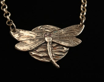 "Dragonfly Necklace - ""Dragonlfy Moon"" - Fine Silver - Artisan Jewelry - ME Designs"