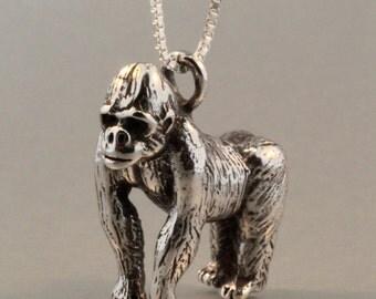 Gorilla Necklace Silver - Gorilla Charm Gorilla Pendant - Silver Gorilla - Monkey Necklace - Monkey Charm Monkey Jewelry - Gorilla Miniature