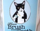 Brush Your Teeth Tuxedo Cat - 8x10 Eco-friendly Print