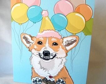 Corgi 'n Balloons Greeting Card