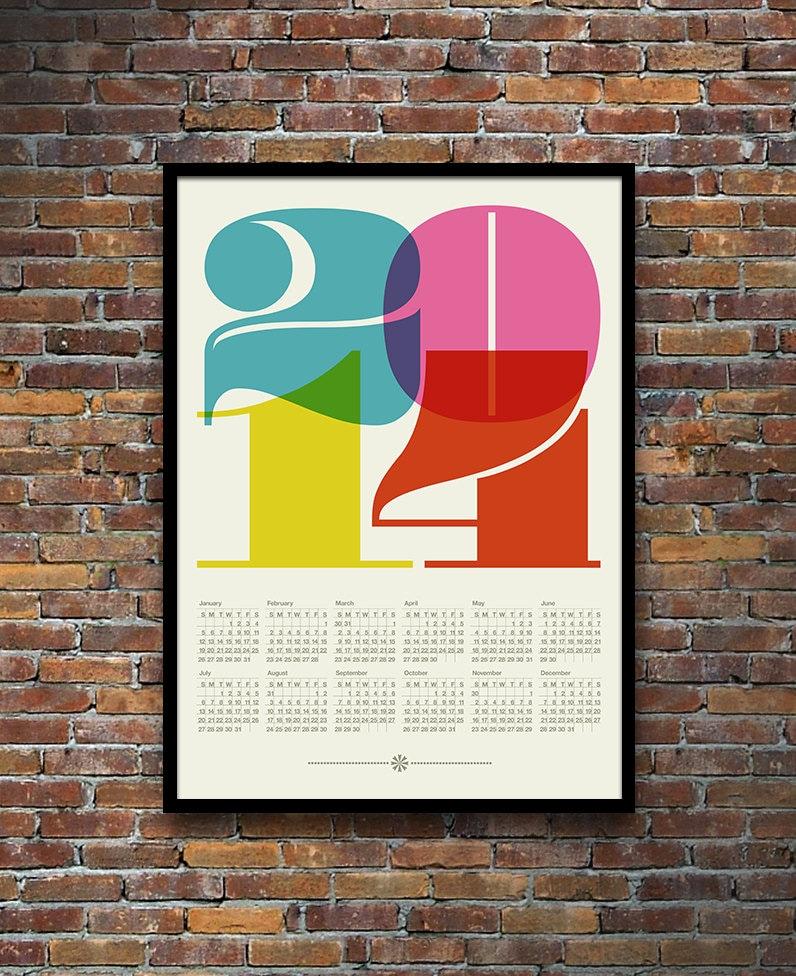 Typography Printable Calendar : Calendar poster retro typography print mid century modern