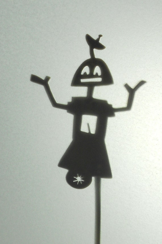 Handcut Brass Shadow Puppet, Robot #1