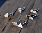 Asymmetrical Sterling Silver Stud Earrings. Post Earrings. Handmade. OOAK. Unique. One, two, three or more. Rubble Earrings. Recycled. Eco.