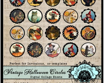 Halloween Vintage Black Cat and Witches Clipart and Tags Circles, Gift Tags,  Digital Collage Sheets, Vintage Illustrations