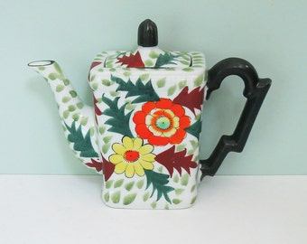 1940s Hand Painted Floral Teapot, Made in Japan by Hotta Yu Shoton Company, Small Single Serving