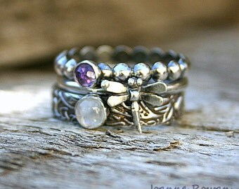 Mini Dragonfly Stack...Set of Three Stacking Rings in Sterling Silver with Rainbow Moonstone and Rose Cut Amethyst Gemstones