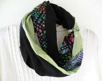 Scarf: women's long woven crochet fashion batik fiber art indie hipster Bohemian black green teal blue cotton vintage India Lhasa i975