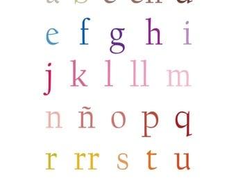 Spanish Alphabet Art Print - 11x14