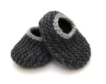 Wool Baby Slippers - Charcoal with Light Gray, Wool Baby Slippers, Crib Shoes, Booties