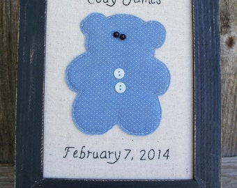 Personalized Baby Announcement, Framed,Rustic, Country, Bear, Blue, Pink, Nursery Decoration, Nursery Art, Sign, Baby Shower Gift