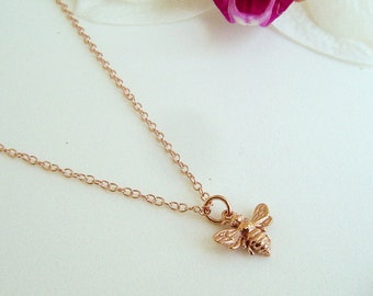 Tiny Rose Gold Bee Necklace, Honey Bee, Bumble Bee on 14k Rose Gold Filled Chain, Bee Jewelry, Mothers, Gift
