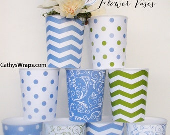 Table Centerpiece Vase Decorations, Party Favors, Bridal Showers, Baby Shower, Flower Vase, Flower Pot, Weddings, Chevron, Damask, Polka Dot