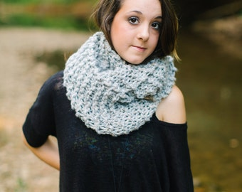 Wool Blend Infinity Scarf in Light Grey //  Knitted Circle Scarf // Long Grey Cowl