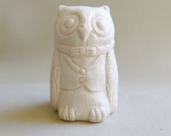 Matte White Owl Art Sculpture OOAK Miniature Ceramic Figurine Bisque Porcelain