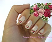 Shabby Very Chic Colorful Vintage Red Pink Rose Spray Nail Art Waterslide Miniature Water slide Decals - fw-050