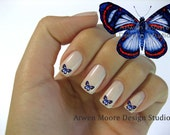 Beautiful Mod Blue Red Butterfly Nail Art Waterslide Water Slide Miniatures Decals - bf-014