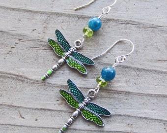 Blue Apatite Green Peridot Dragonfly Earrings Boho Gypsy Tribal Totem Earrings