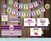 DECOR Package Dinosaur Birthday Party Decoration Stripes Cute Dinosaur Dino Girl Birthday Printable DIY Digital File Instant Download