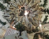 Shabby VINTAGE PAPER WREATH Holiday Decor Ornament Keepsake Gift