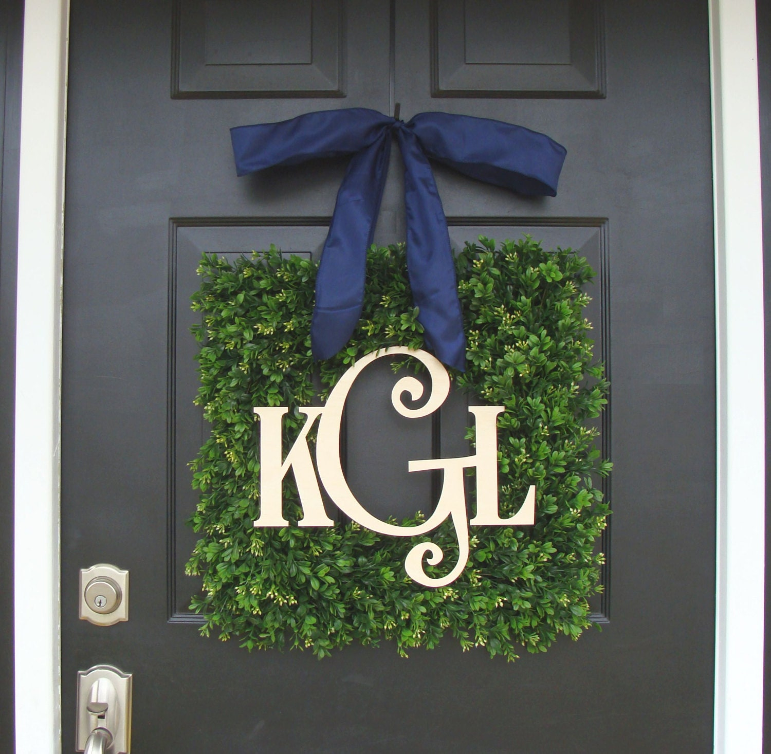 Monogram Front Door Decoration: Boxwood Wood Monogram Wreath- Monogram Boxwood Wreath