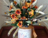 Simple Fall gathering floral arrangement