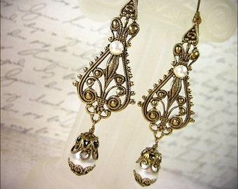 Cream Pearl Renaissance Earrings, Pearl Tudor Jewelry, Bridal Chandelier Earrings, Victorian Pearl Bridal Earrings, Ready to Ship