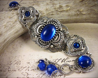 Medieval Bracelet, Sapphire, Blue Clover, Renaissance Jewelry, Antiqued Filigree Jewelry, Tudor Jewelry, Canter