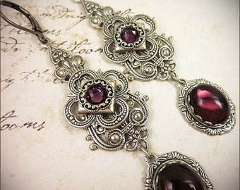 Amethyst Medieval Earrings, Purple Victorian Wedding, Bridal, Renaissance Bride, Medieval, Tudor, Renaissance Jewelry, Bridesmaid, Avalon