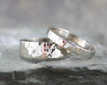 14K White and Pink Gold Wedding Bands - Textured Mixed Metal - His and Hers - Commitment Rings - Matching Wedding Rings - Wedding Band Set