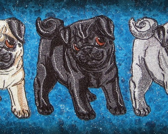 Cute Pug Puppies Pick Your Color Fawn Black or Silver Iron on Patch