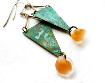 Geometric Verdigris Patinaed Brass and Lampwork Dangle Earrings by Chelsea Girl Designs, Rustic Boho Jewelry