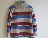 1980s Vintage Childrens Health Tex Striped Long Sleeve T Shirt Gray Brown Rust Blue 4T