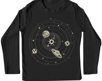 Kids Solar System t-Shirt, Glow in the Dark shirt, black silver tshirt, stars and planets, space and science tshirt, rad awesome kid gift