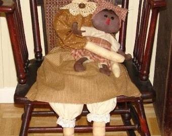 Primitive raggedy Cloth doll pattern, Extra large Raggedy doll pattern, Cloth doll, HFTH102