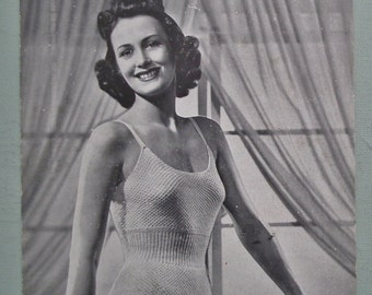 Vintage Knitting Pattern 1940s Womens Lingerie Cami-Knickers Teddy Underwear Undies 40s original knitting pattern Weldons No. 237