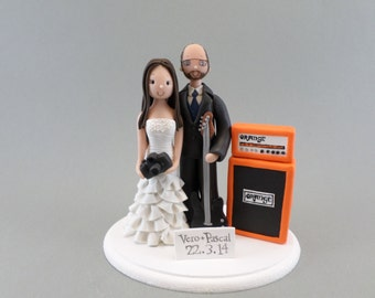 Bride & Groom with a Guitar and Orange Amp Personalized Wedding Cake Topper
