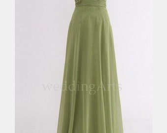 Moss green Bridesmaid dress with roses one shoulder Custom 120 colors Any size