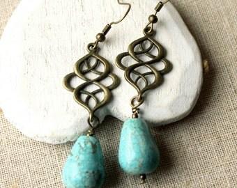 Turquoise Drop Earrings, choose HOOKS or Clips, Turquoise dangle earrings, Boucles D'Oreilles turquoise jewellery E242