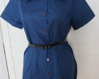 Blouse, Shirt Navy Blue with Short Sleeves by Ship 'n Shore - Size M