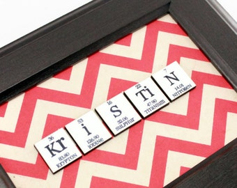 Nerdy Science Personalized Name Sign - Chemistry Womens Mens Mixed Media Art Periodic Table - Chevron