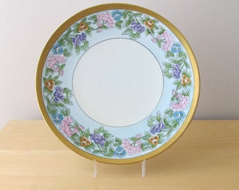 antique cake plate Epiage czechoslovakia china blue pink gold wedding cake