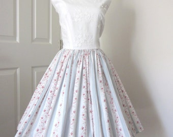 1950s - 1960s - Vintage Style Dress - Bridal Shower Dress - Tea Party Dress OOAK Dress - Full Skirt Dress - Garden Party Dress - Size Med