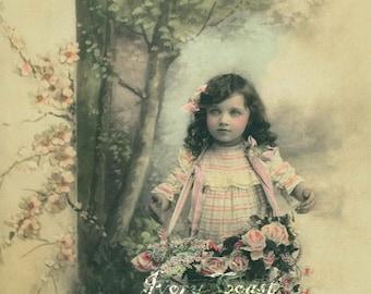 Forest Child Vintage Photo Postcard Ephemera.  Digital Download.